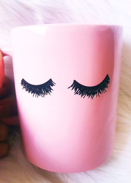 Happy things! This pink eyelash mug is to die for and it makes me happy every morning!