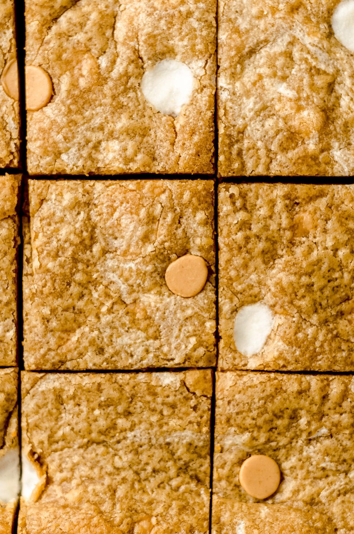 aerial photo of sliced fluffernutter bars