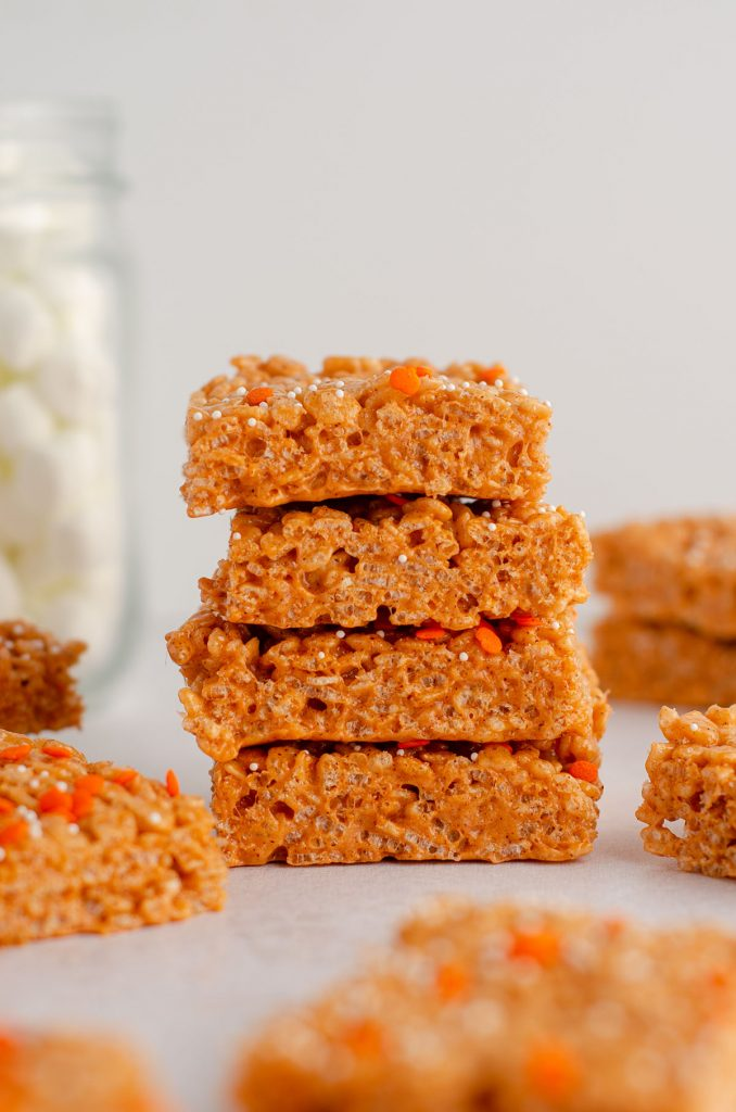stack of pumpkin rice krispies treats