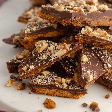 pile of graham cracker toffee bark
