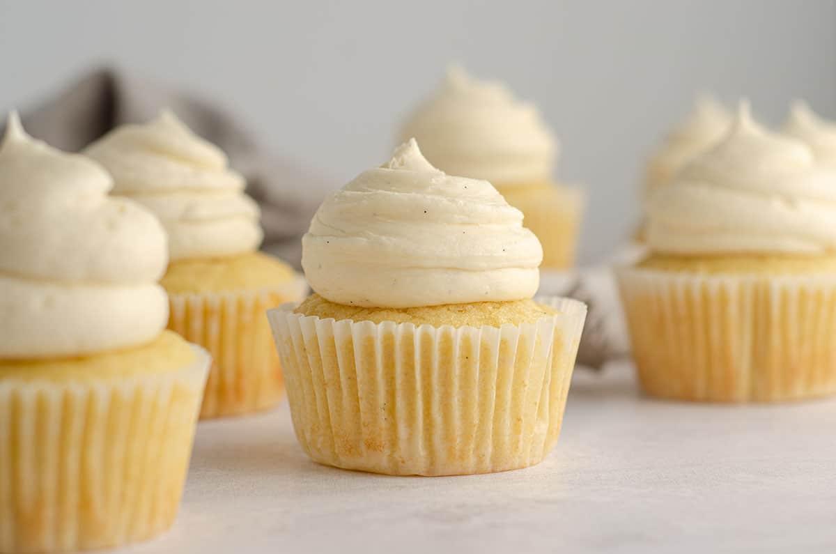 vanilla bean cupcake with vanilla bean buttercream on top