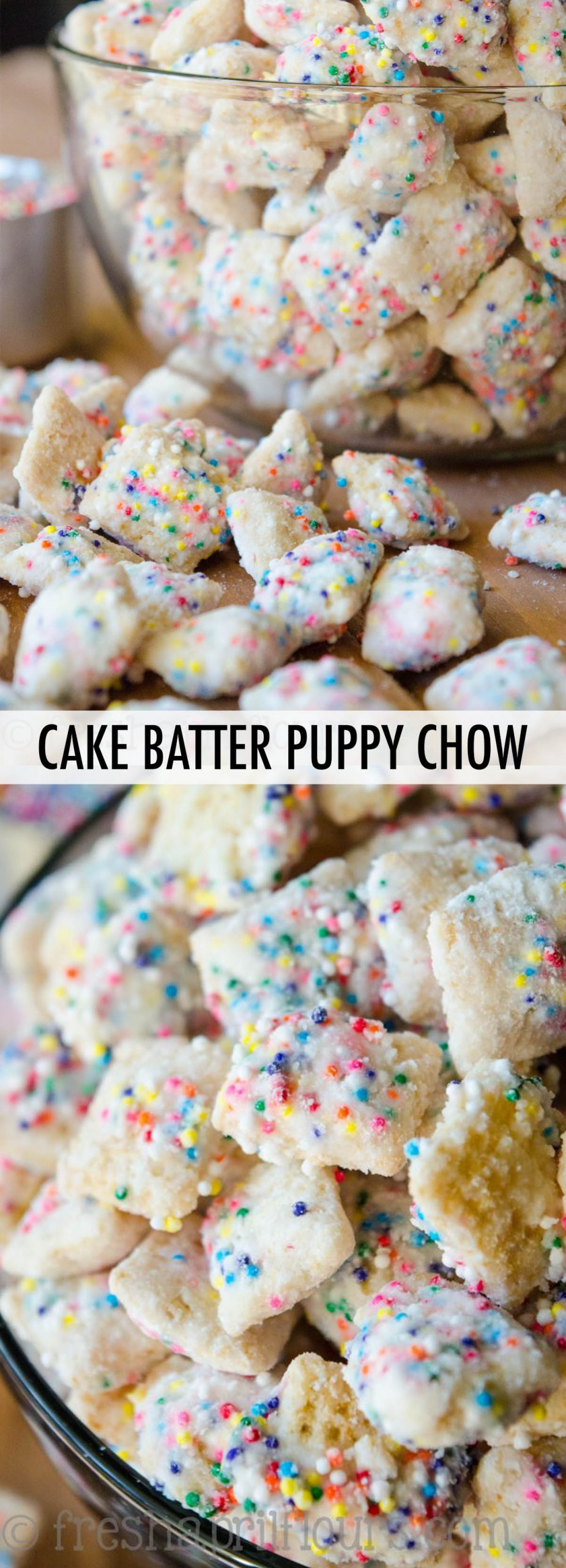 A crunchy, cake-battery take on the classic Puppy Chow!
