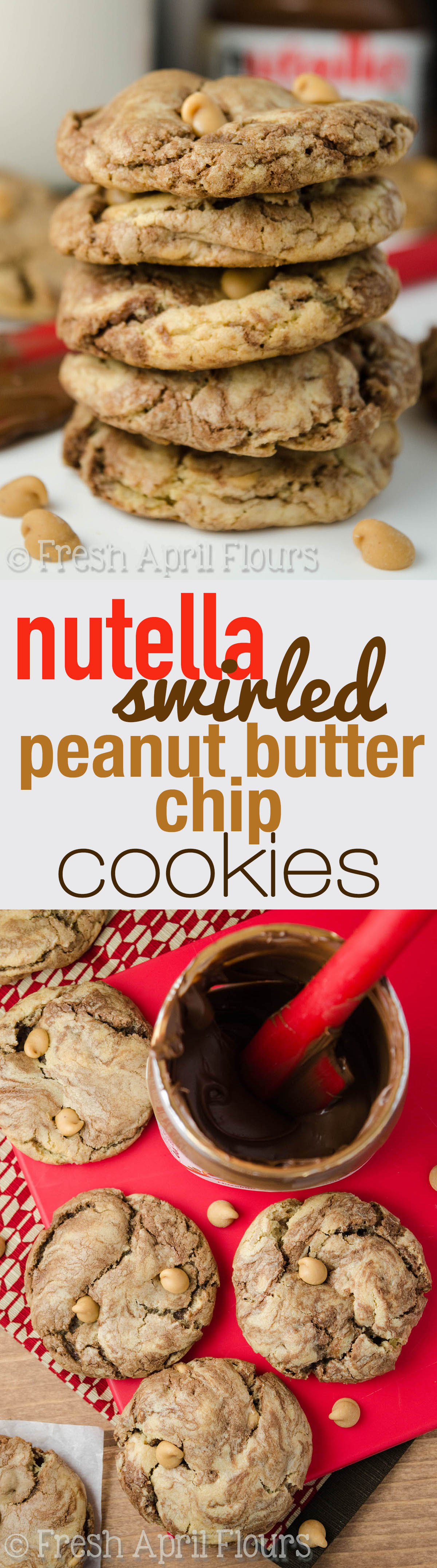 Nutella Swirled Peanut Butter Chip Cookies: Easy brown sugar cookies filled with peanut butter chips and generous swirls of Nutella.