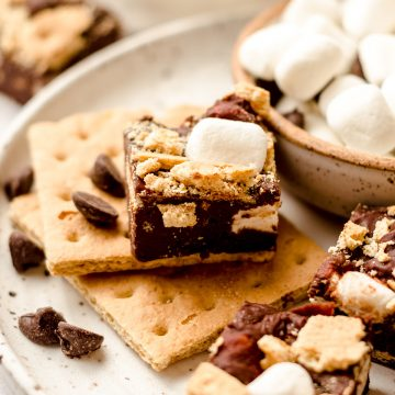 s'mores fudge on a plate