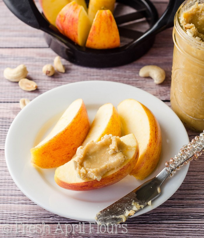 Salted Honey Cashew Peanut Butter: Sweet & salty, naturally buttery homemade spread. You're just 4 ingredients and a few minutes away from enjoying your new favorite homemade nut butter!