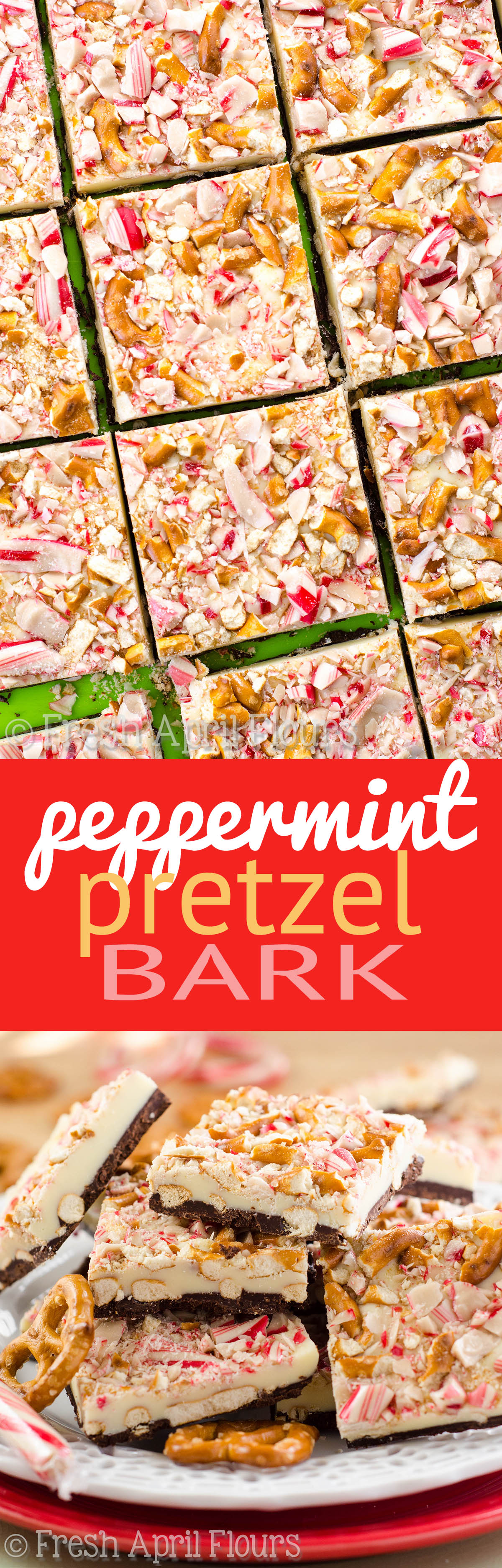 Peppermint Pretzel Bark: Classic peppermint bark has a salty twist this year! Perfect for cookie trays and homemade gifts.