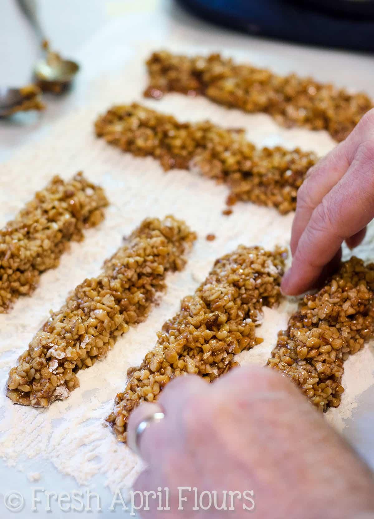 preparing the filling for honey walnut cookie sticks