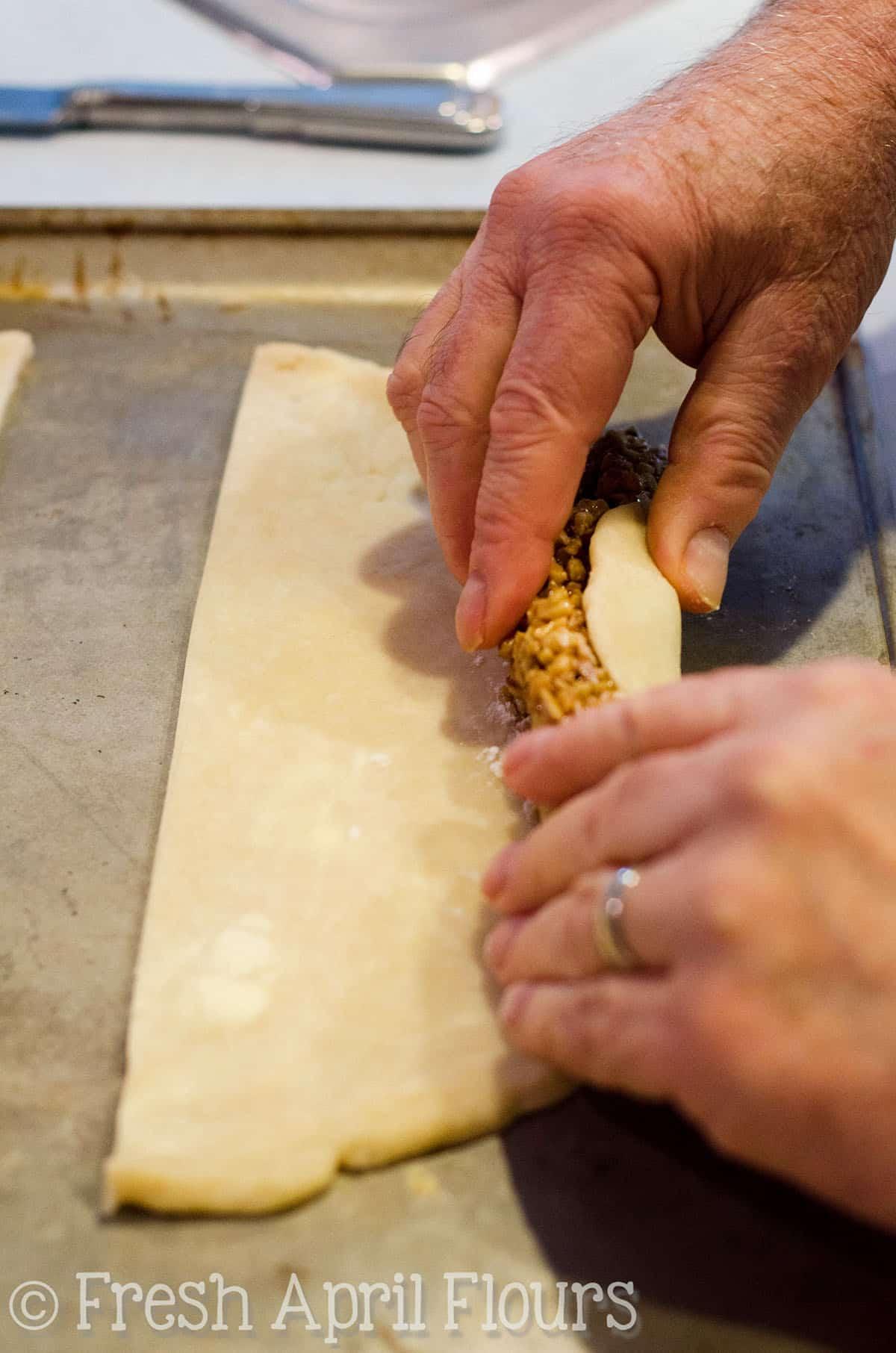 rolling up honey walnut cookie sticks