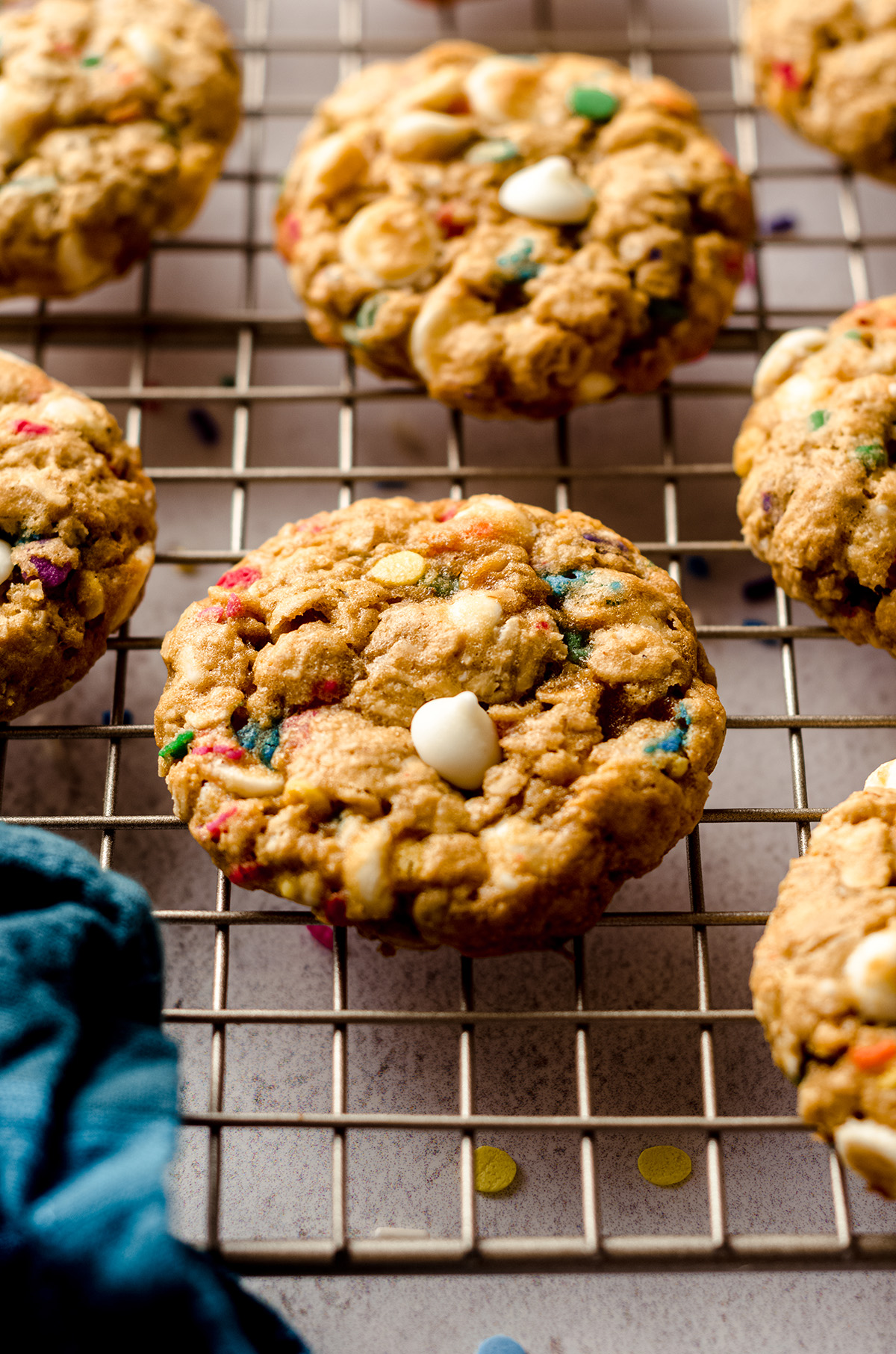funfetti oatmeal cookies on a cooling rack