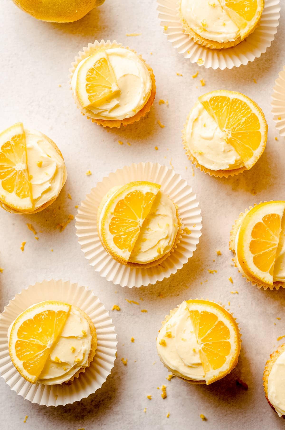 aerial photo of triple lemon cupcakes