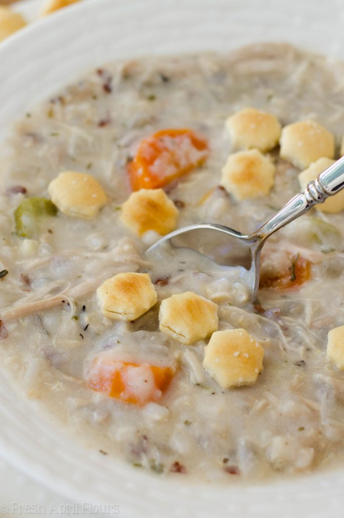 Slow Cooker Creamy Chicken and Wild Rice Soup: An easy set-it-and-forget-it recipe for creamy chicken and wild rice soup for the slow cooker. Perfect for cold weather and freezing for on-hand meals.
