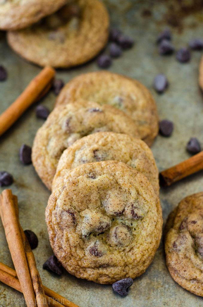 snickerdoodle chocolate chip pudding cookies