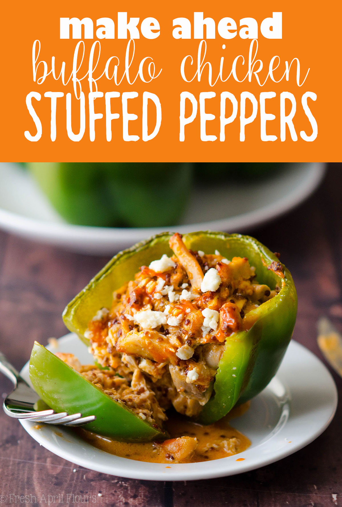 Buffalo Chicken Stuffed Peppers: An easy, make-ahead weeknight meal that makes great leftovers and can be easily doubled to feed a crowd or larger family.