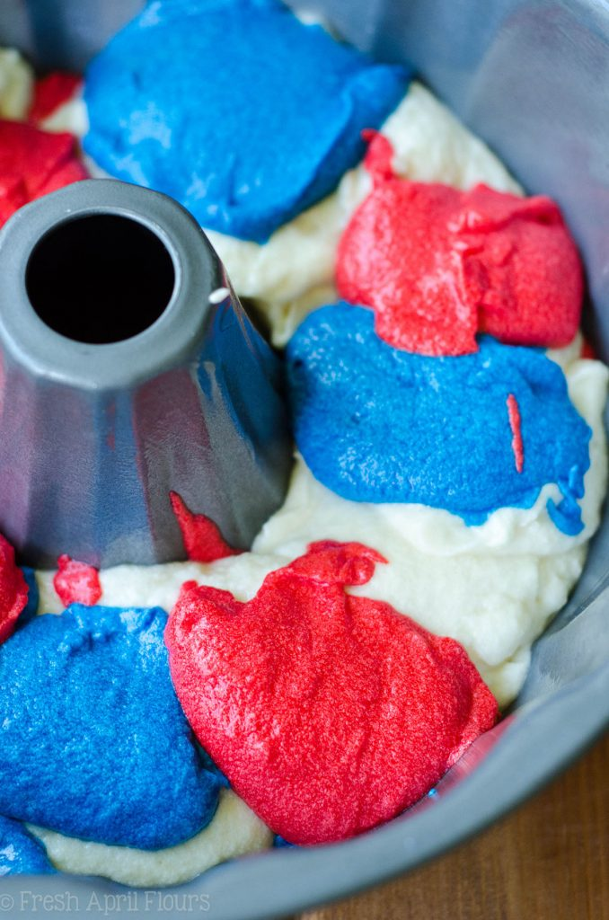 Red, White, & Blue Swirl Bundt Cake: Classic white cake, swirled with colored batter for a patriotic flair. Change up the colors to match your occasion!
