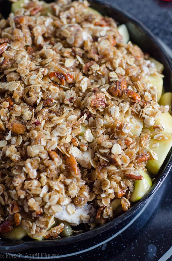 Maple Pecan Goat Cheese Skillet Apple Crisp: A gluten free apple crisp with a touch of tangy goat cheese and full of some of the best flavors fall has to offer.