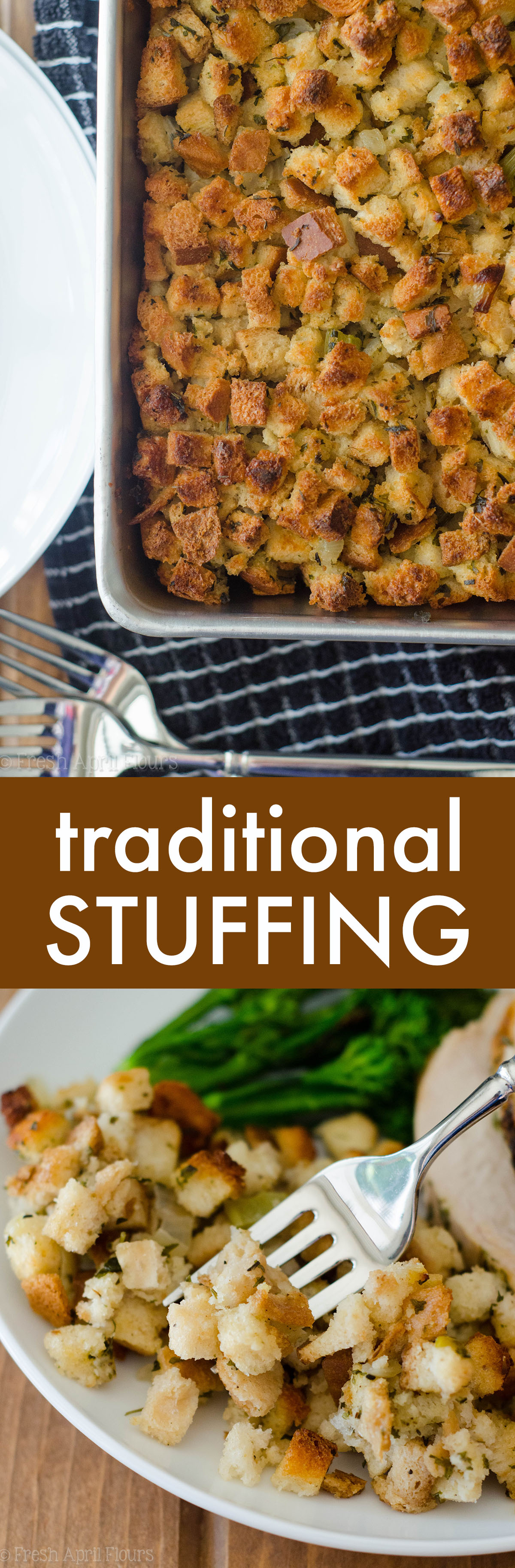 Loaded with flavorful vegetables and the perfect herbs to complement your dish, this classic bread stuffing will go great at your Thanksgiving feast.