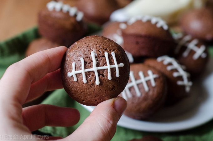 Game Day Brownie Bites: Adorable bite-size brownies adorned with buttercream football stripes. Perfect for any football game day you're looking to celebrate!