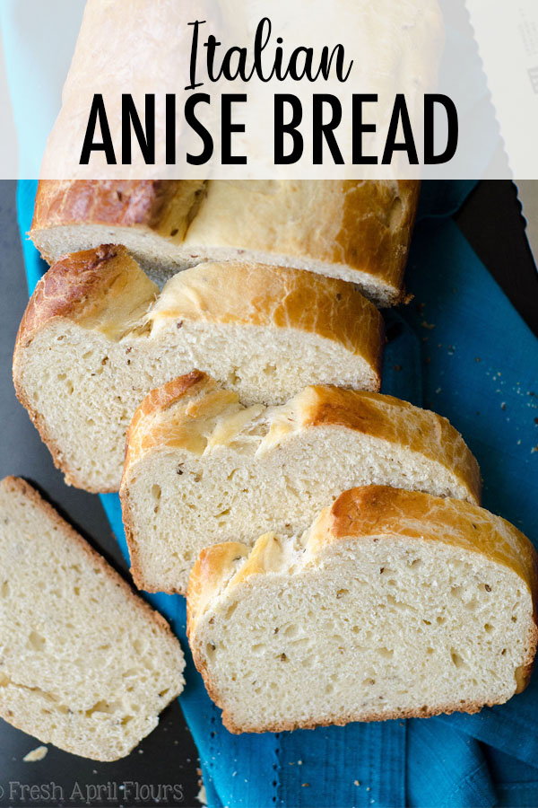 A sweet yeast bread with a tender crumb, flavored with anise extract and dotted with anise seeds.