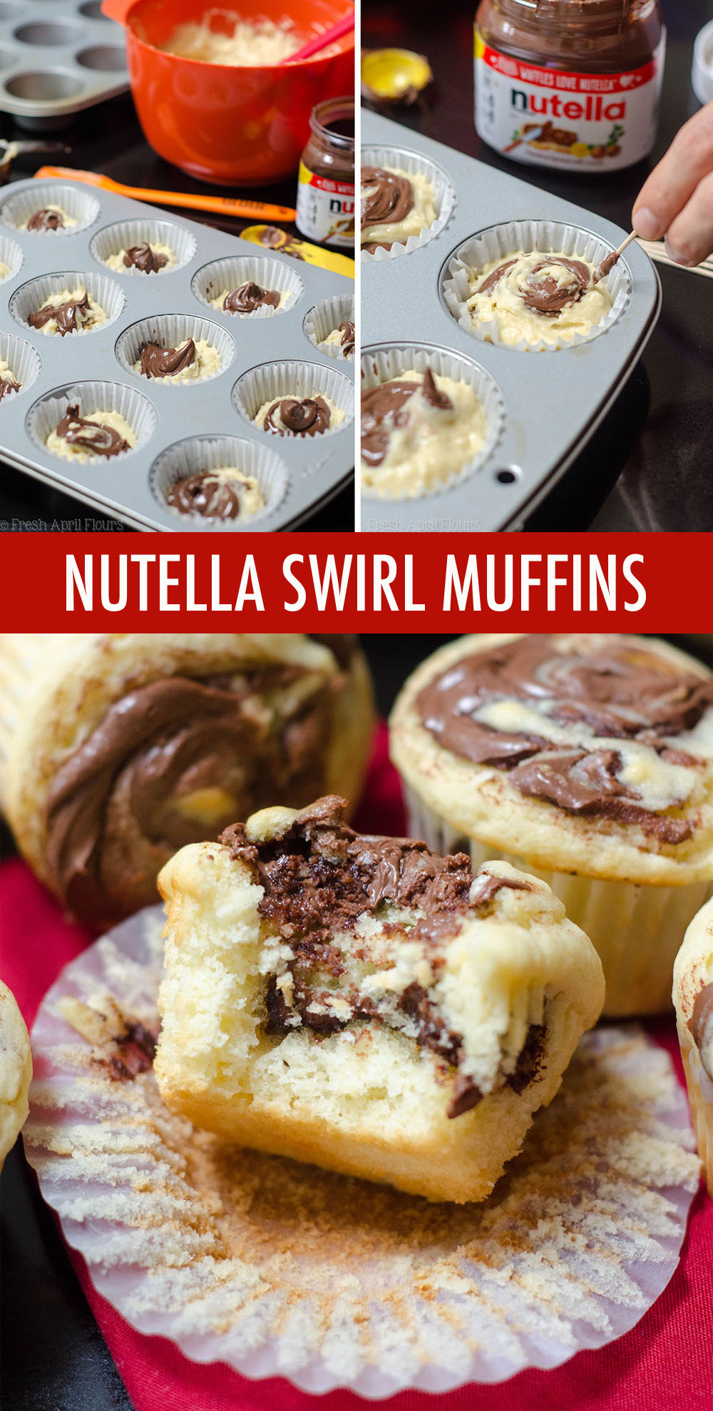 Basic buttermilk muffins get a jazzy upgrade with Nutella swirled into every bite.