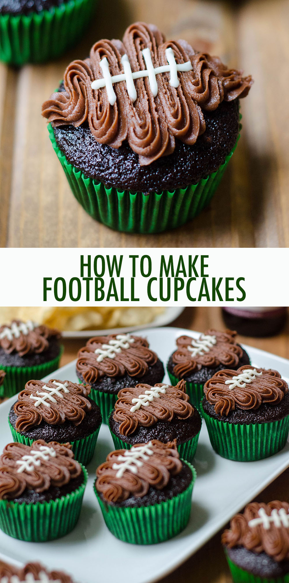 Turn any cupcake into a touchdown treat with this easy tutorial and video!