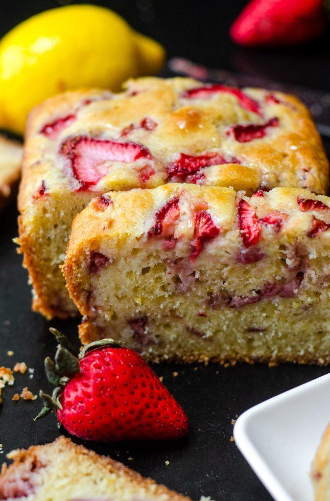 sliced strawberry lemonade quick bread