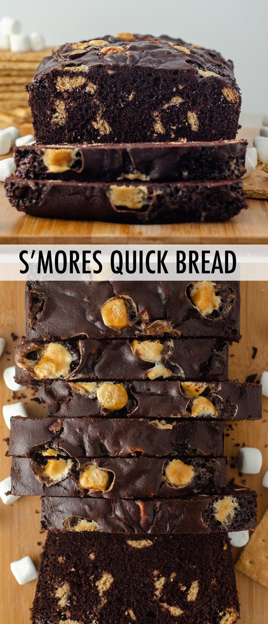 Decadent chocolate quick bread swirling with graham cracker chunks and mini marshmallows.