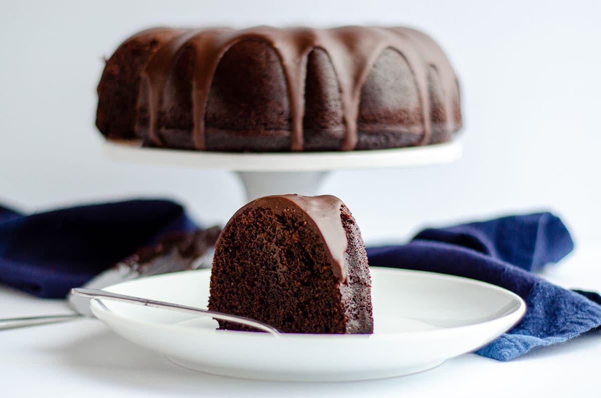 slice of chocolate bundt cake on a plate