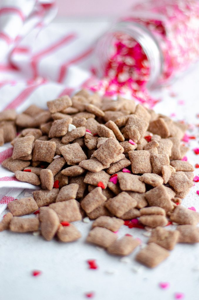 red velvet puppy chow with heart sprinkles