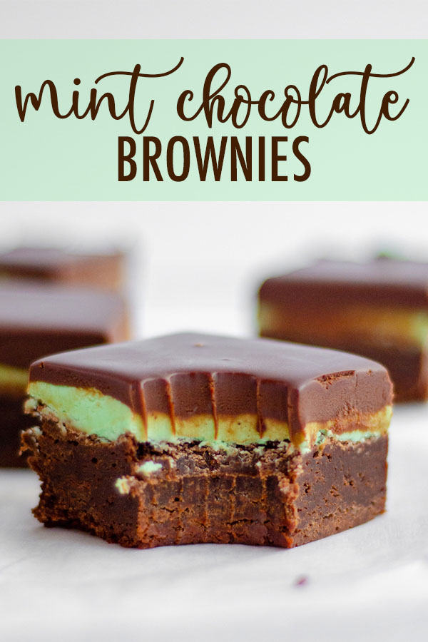 These decadent mint chocolate brownies begin with a dense and fudgy brownie base that's topped with a creamy mint frosting and a layer of smooth chocolate ganache.