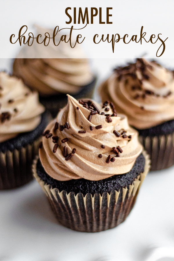 My go-to simple chocolate cupcakes are fluffy, moist, and don't even require a mixer. Top them with a velvety smooth chocolate Swiss meringue buttercream (or pair with another favorite) for a simple yet impressive little cupcake!