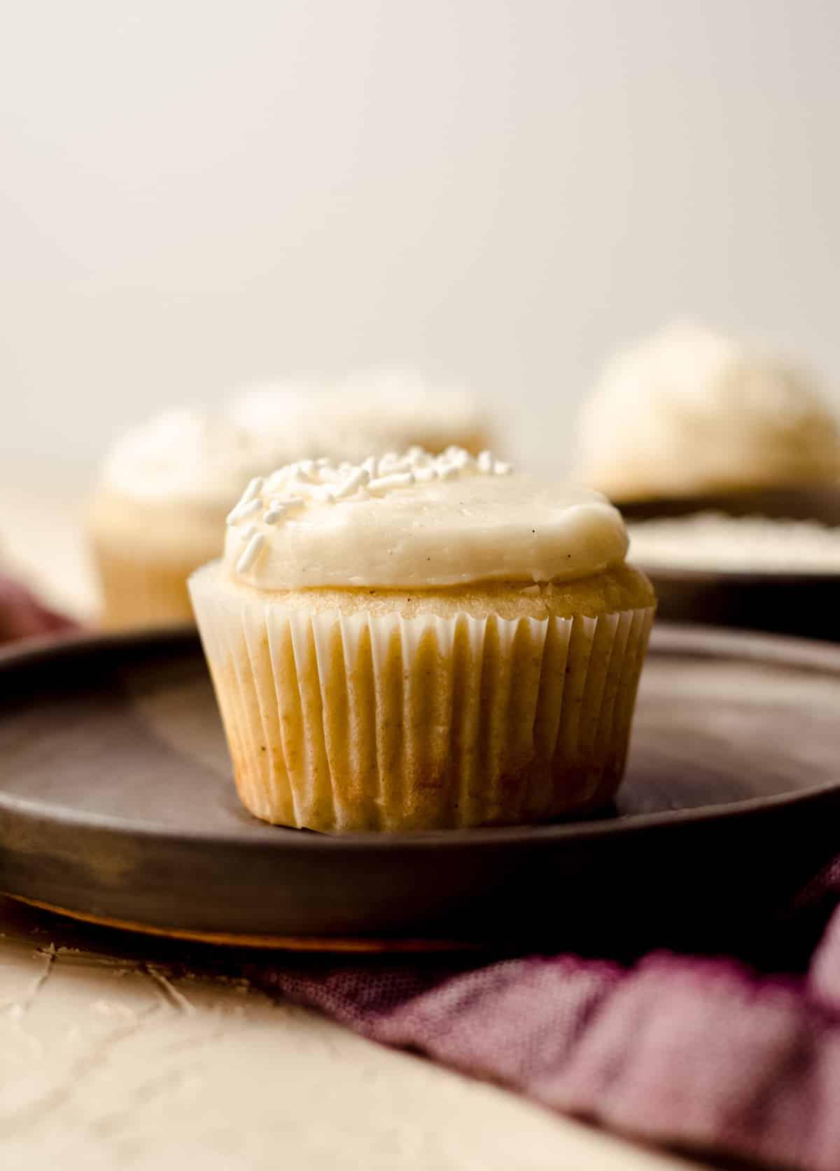 vanilla bean cupcake on a plate