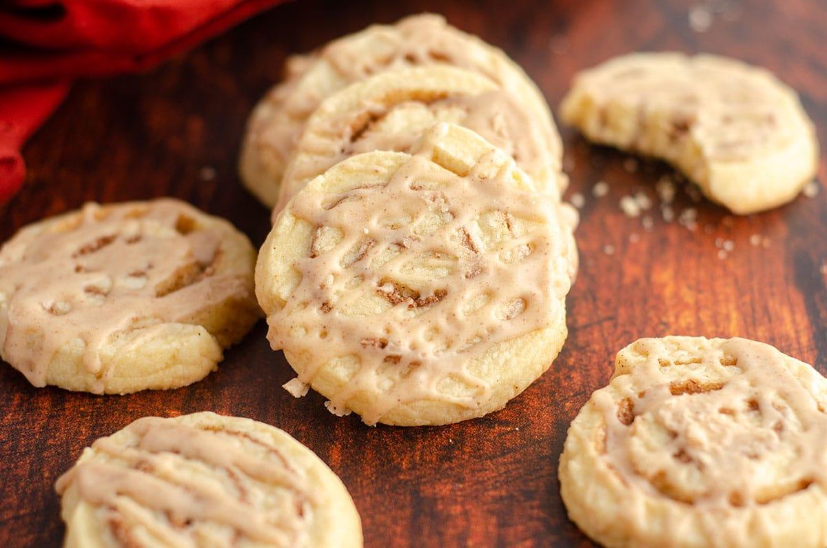 cinnamon pinwheel cookies in a stack