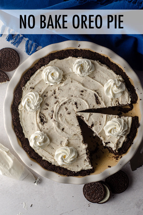 An easy, creamy no bake pie made with a simple Oreo cookie crust and filled with chunks of Oreo cookies.