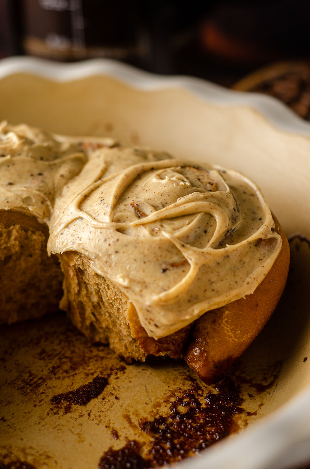 coffee cinnamon roll in a dish