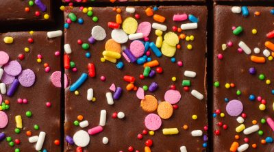 aerial photo of sliced funfetti brownies with sprinkles