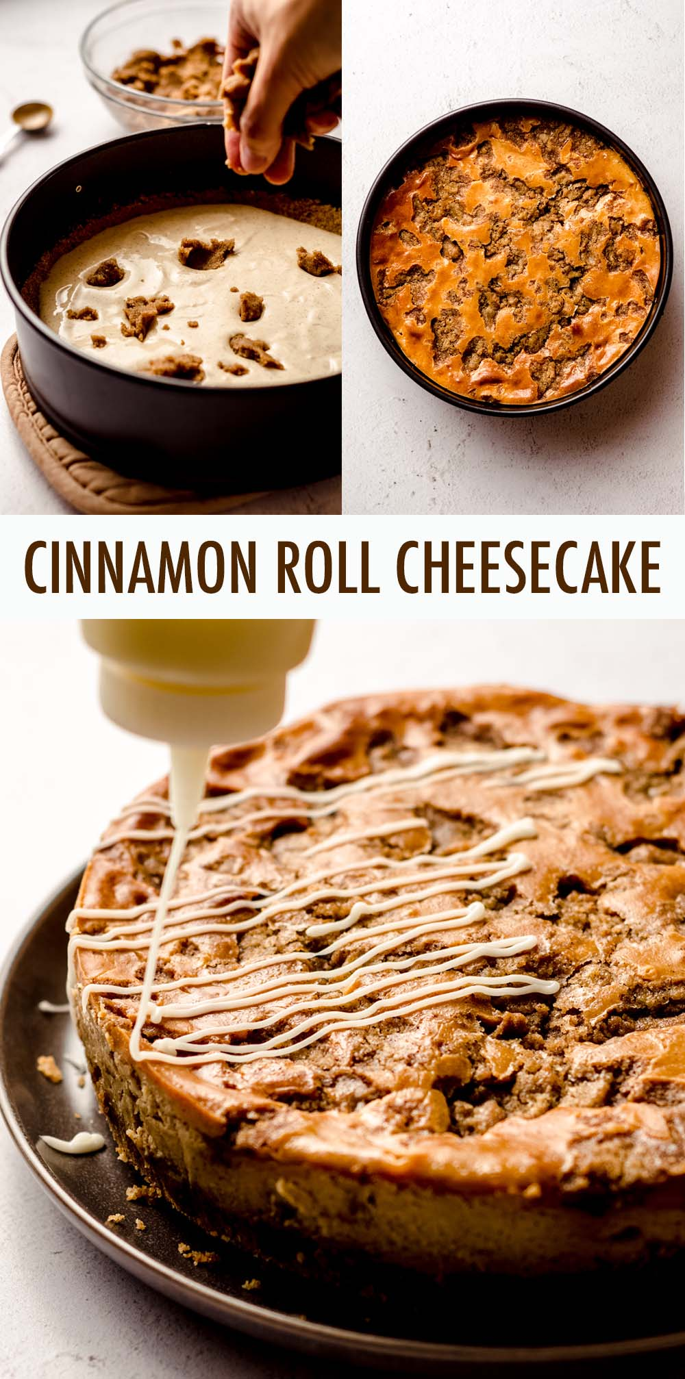 Cinnamon spiced cheesecake studded with chunks of cinnamon filling and topped with a cream cheese frosting drizzle.