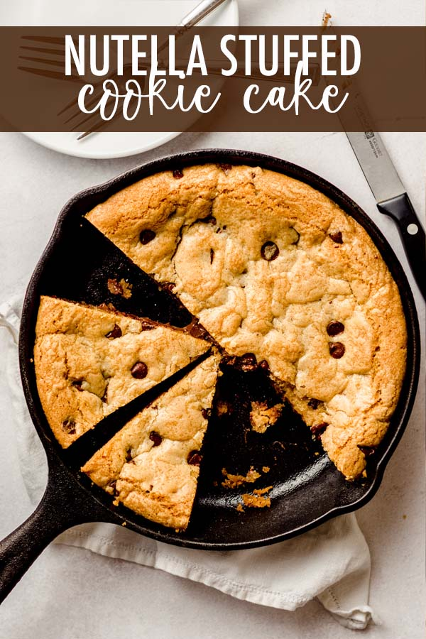 This Nutella stuffed chocolate chip cookie cake is baked in a skillet so you can dig in with some spoons and ice cream or cut it into gooey slices of plated cookie cake. However you serve it, this epic cookie cake is bound to satisfy any Nutella lover's sweet tooth!
