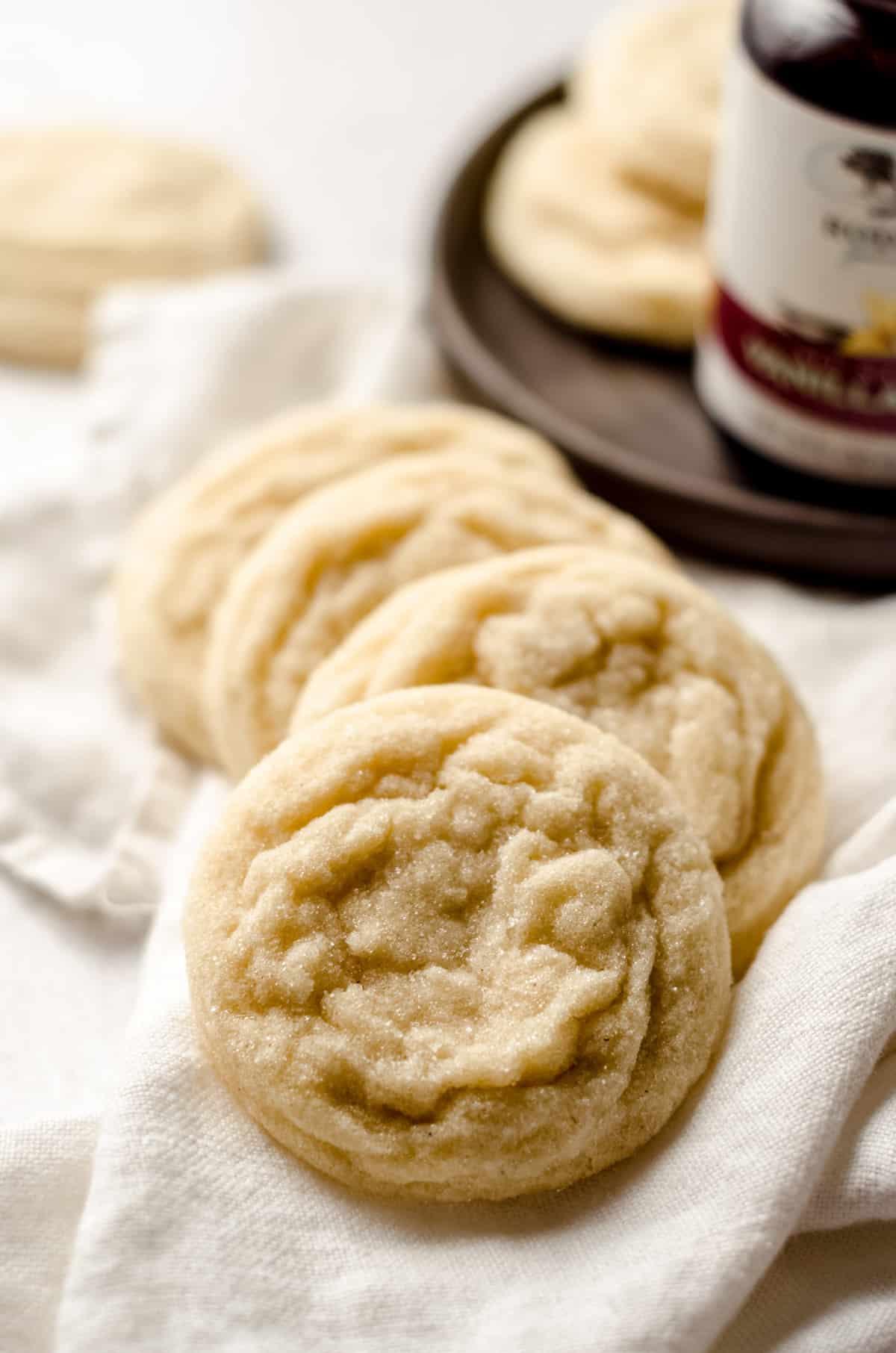 vanilla bean sugar cookies on a kitchen towel