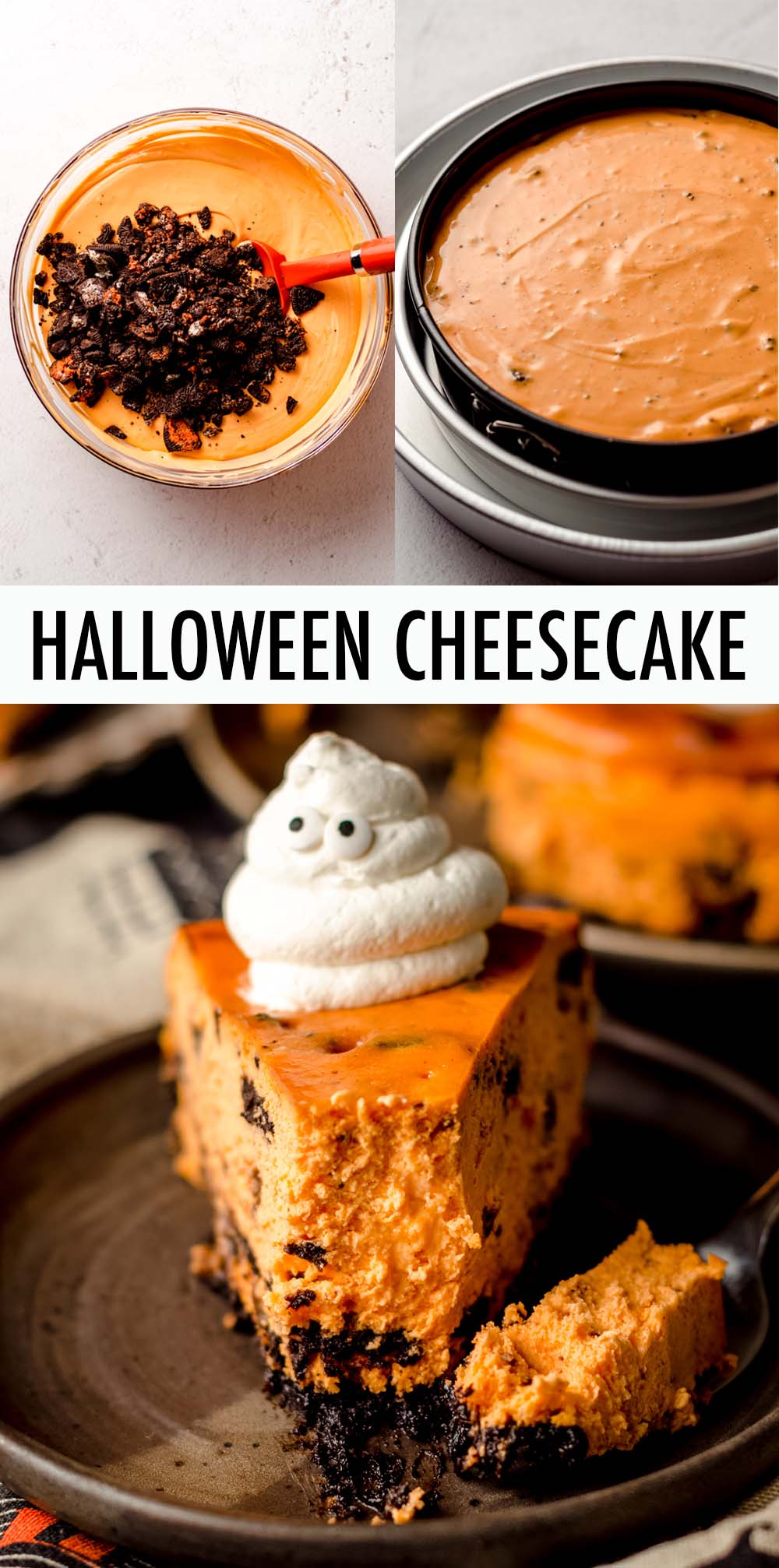 A basic cookies and cream cheesecake tinted orange and filled with chunks of Halloween Oreos, sitting atop a Halloween Oreo crust. Top with adorable whipped cream ghosts for a spooky treat, or use classic Oreos and leave out the orange coloring for a luscious cheesecake variation all year round!