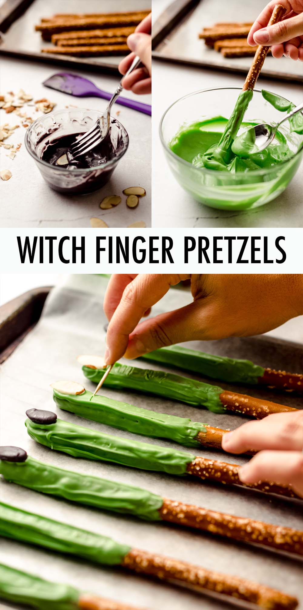 A simple and charming no-bake Halloween treat that looks like witches' fingers and is fun for kids to both make and eat. Great for Halloween goodie bags or a party spread.