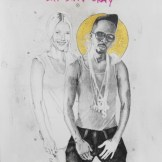 NEGUS in Paris, For Real (feat. Gwyneth Paltrow). Graphite, gold leaf and oil stick on paper. 25x18 in. 2012. Fahamu Pecou