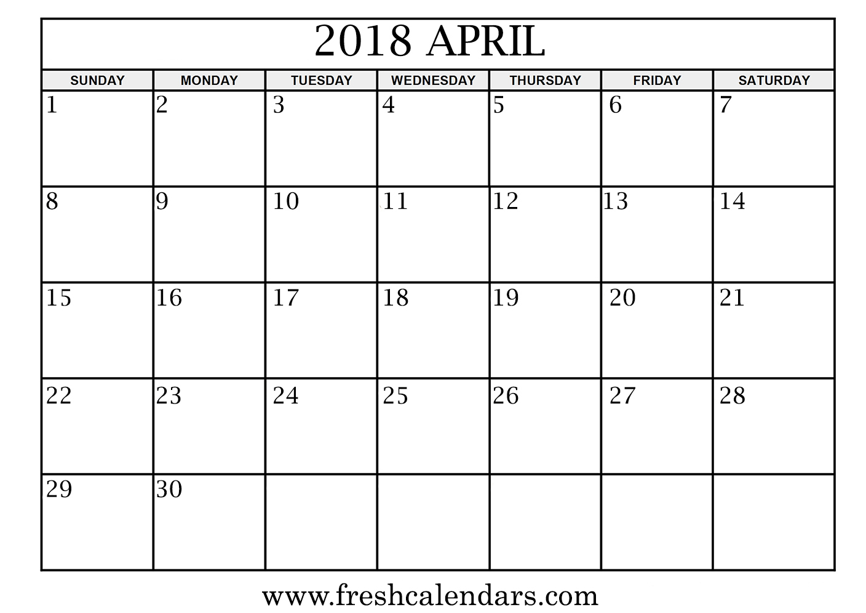 april 2018 calendar template
