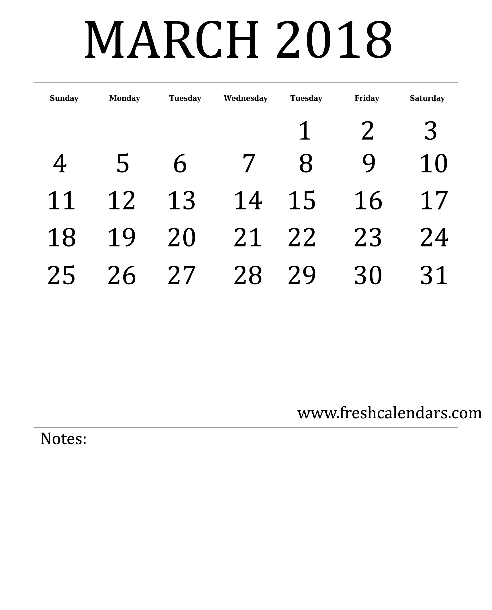 Blank March Calendar Printable Templates