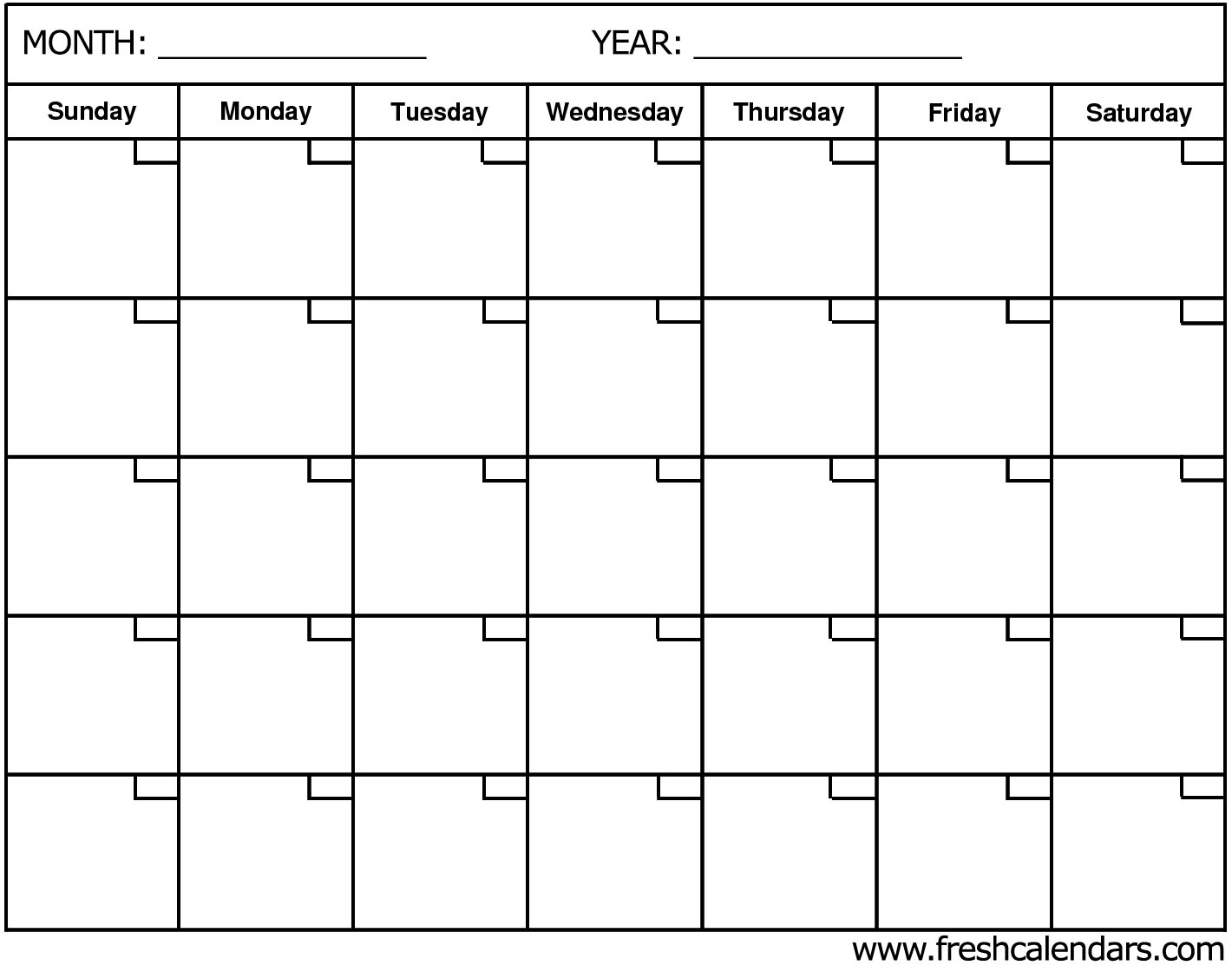 Blank Calendar Wonderfully Printable Templates