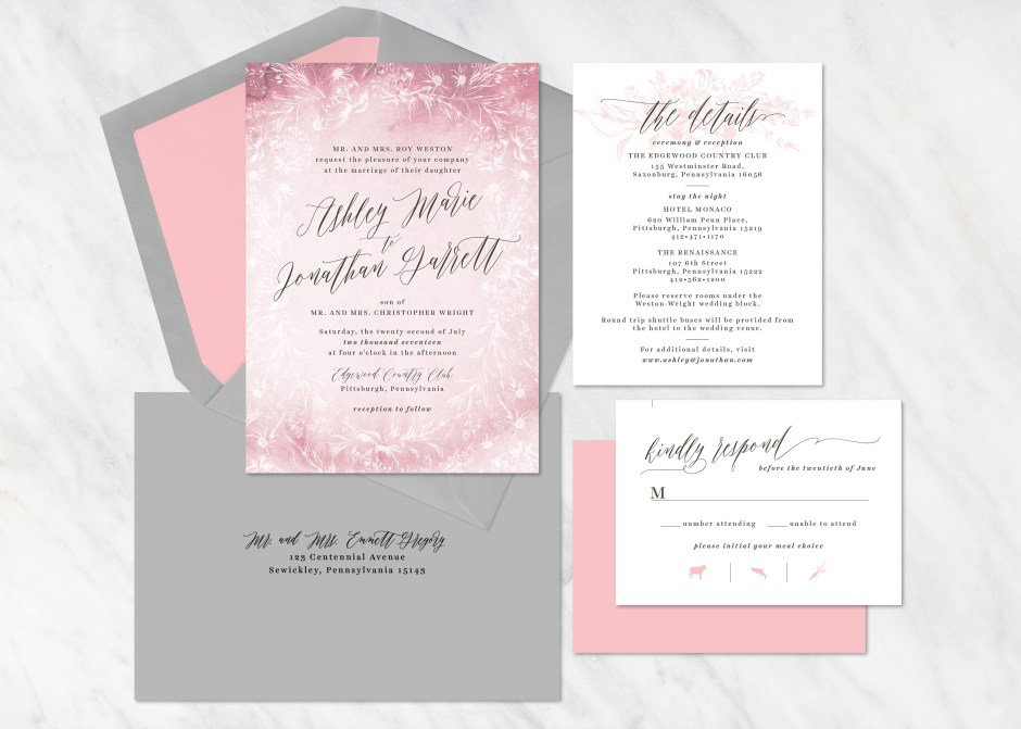 Floral wreath invitation package