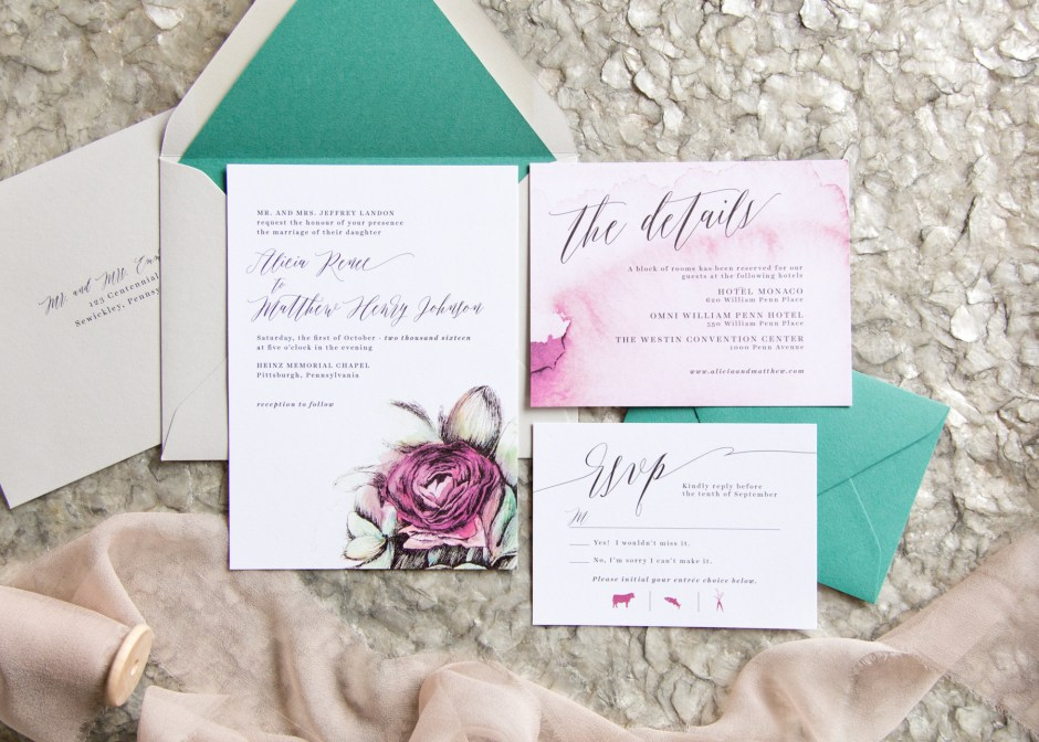 Watercolor Rose Wedding Invitations