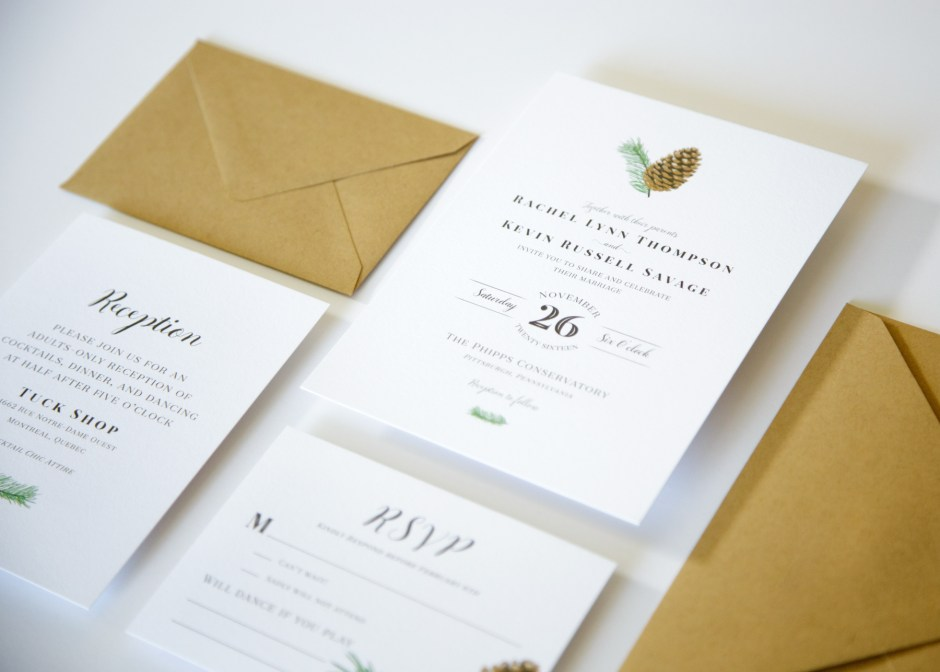 wedding invitation with pinecone
