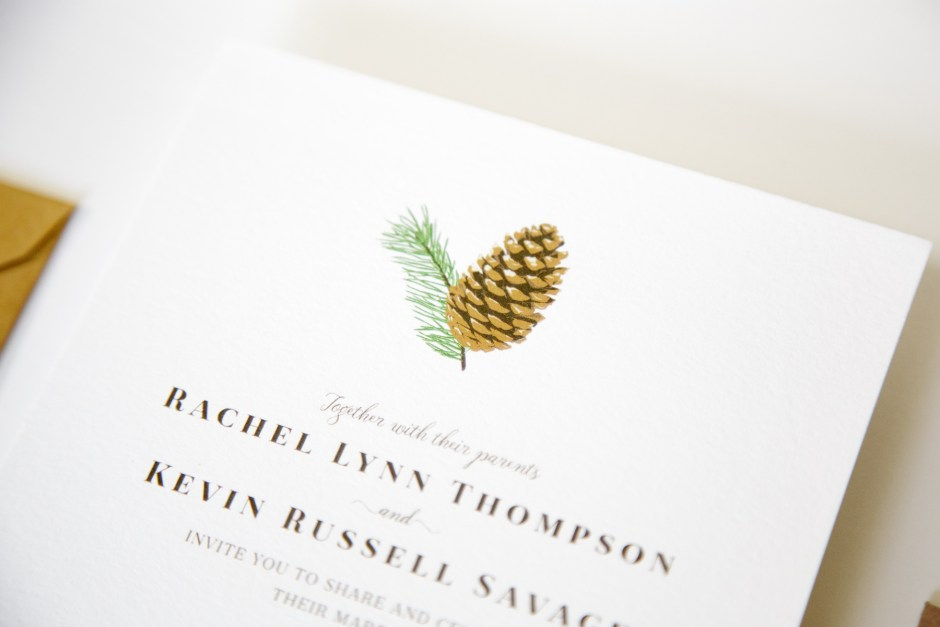 detail on invite of pinecone