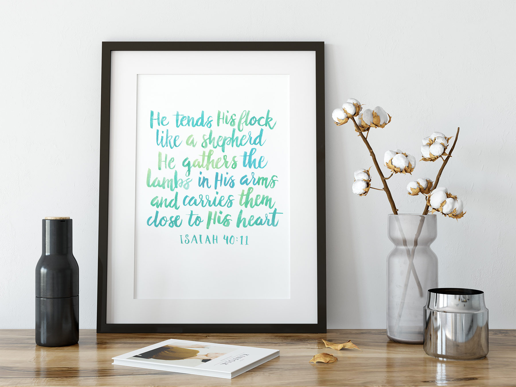 picture relating to Printable Wisdom named Bible Verse Artwork, Scripture Print, Watercolor Lettering, Printable Knowledge, Isaiah 40:11, Encouragement, He Tends His Flock Such as a Shephard - Contemporary Slice