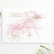 Illustrated Wedding Map with Watercolor